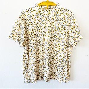 Ribbed Floral Mock-neck Shirt